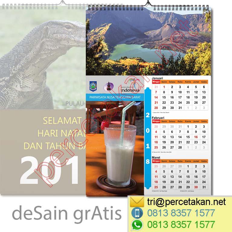 Contoh Desain Kalender Dinding 3 bulanan