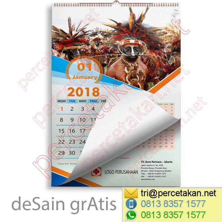 Desain Kalender Papua bulanan